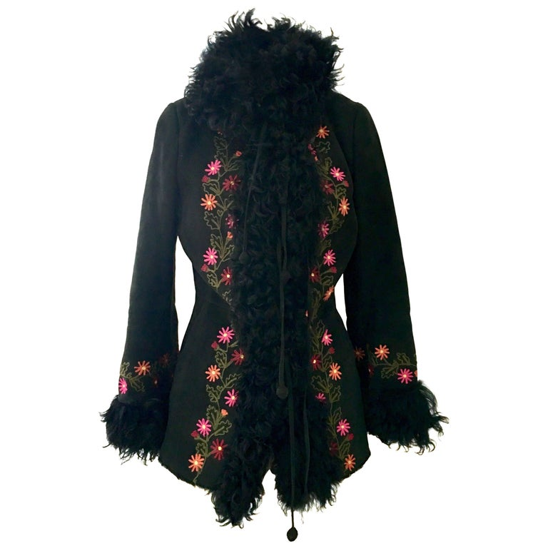 Christia For Hana K Vintage Shearling and Curly Mongolian Fur Embroidered Coat