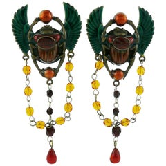 Jean Paul Gaultier Enameled Scarab Egyptian Earrings, 1990s