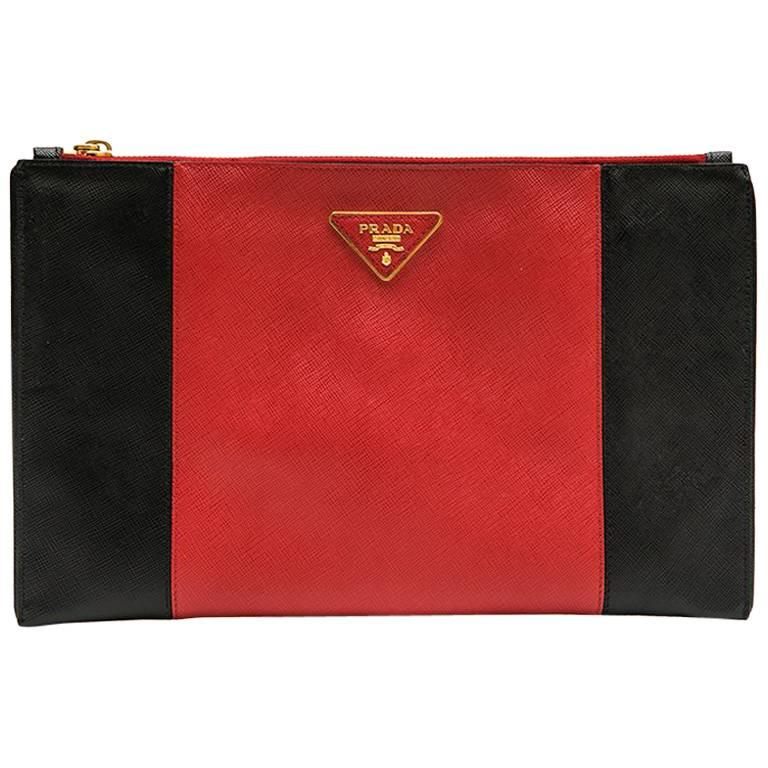 e3b99cf68510 PRADA Clutch in Two-Tone Black and Red Grained Leather at 1stdibs