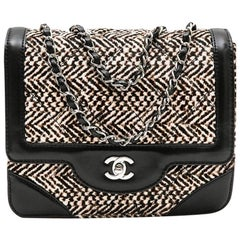 Chanel Flap Bag in Padded Foal Calf Leather and Black Leather