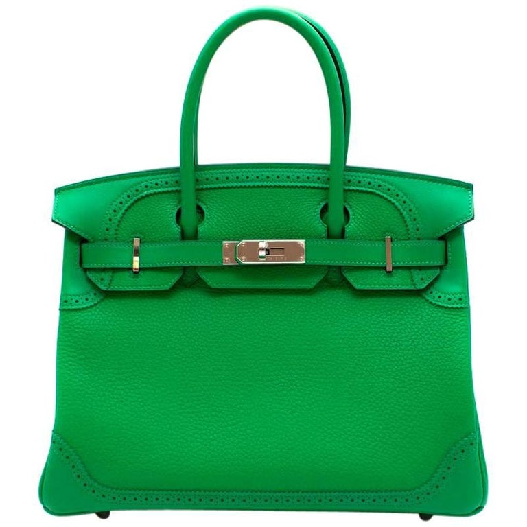 Hermes Bamboo Togo 30CM Ghillies Birkin Bag For Sale