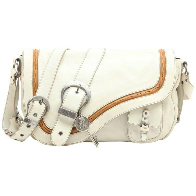 Christian Dior Saddle Bag in Off-White and Camel Leather