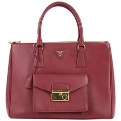 Prada Front Pocket Double Zip Lux Tote Saffiano Leather Medium
