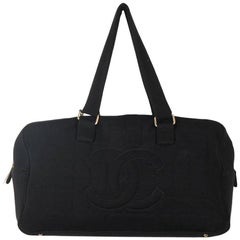 CHANEL Black SQUARE STITCH Fabric BOWLING BOWLER Shoulder Bag