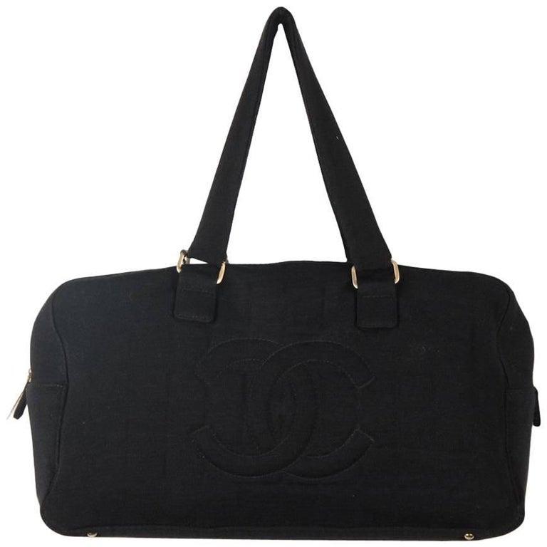 CHANEL Black SQUARE STITCH Fabric BOWLING BOWLER Shoulder Bag
