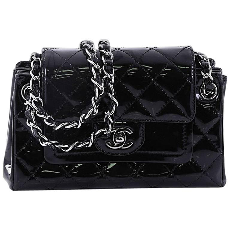 9d42c6e36244 Chanel Chain Double Accordion Flap Bag Quilted Patent Small at 1stdibs