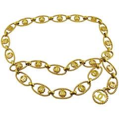Chanel Vintage Gold Toned Logo Rope Link Belt