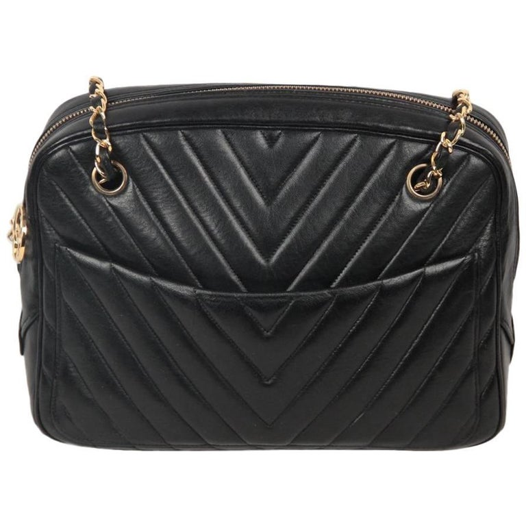 CHANEL Vintage Black V QUILTED Chevron Leather Shoulder Bag