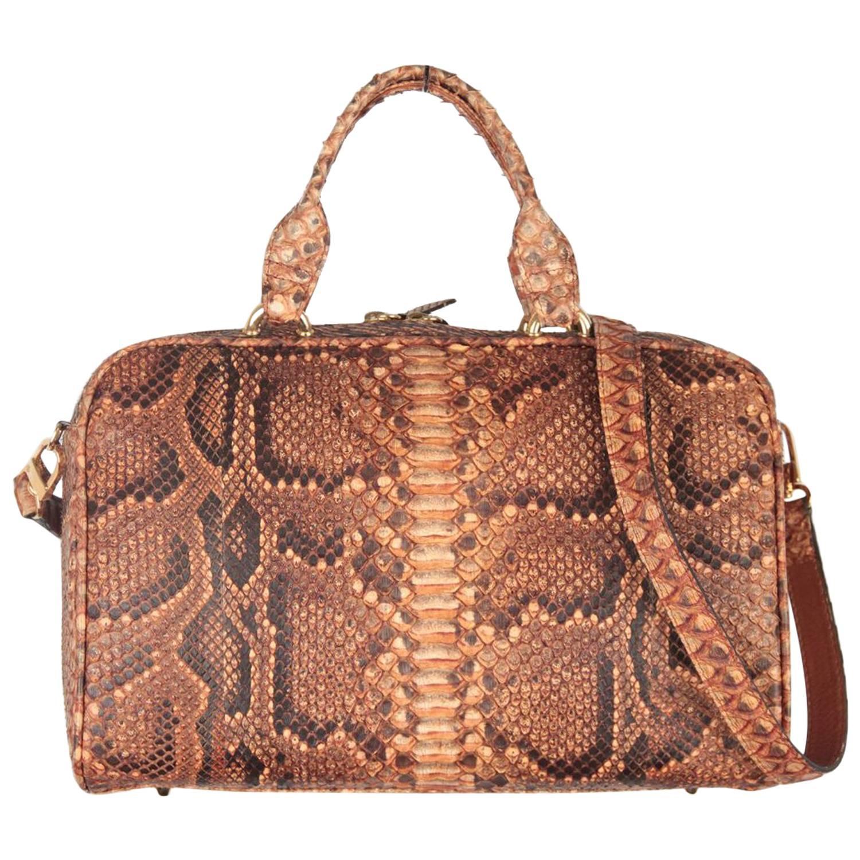 c0d61d32e1ab PRADA Beige JACQUARD LOGO Fabric HANDBAG Doctor Bag w  OSTRICH Leather at  1stdibs
