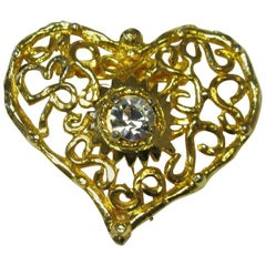 CHRISTIAN LACROIX Vintage Heart Brooch in Gilded Metal and White Rhinestone