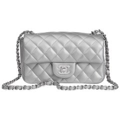 Chanel Silver Metallic Quilted Lambskin Rectangular Mini Flap Bag, 2017