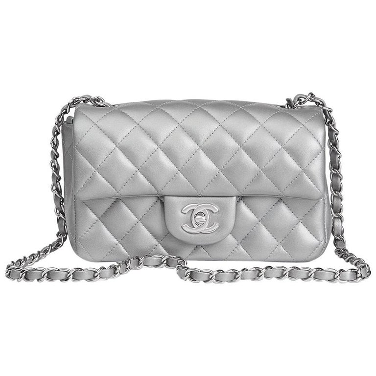 35e1fae374cd Chanel Silver Metallic Quilted Lambskin Rectangular Mini Flap Bag, 2017 For  Sale