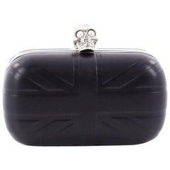 Alexander McQueen Britannia Skull Box Clutch Embossed Leather Small