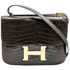 Hermes Vintage Constance Bag in Brown Chocolate Crocodile Leather