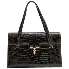 Gucci Vintage Bag in Brown Crocodile Porosus Leather