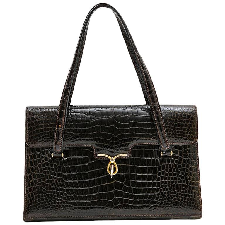 Gucci Vintage Bag in Brown Crocodile Porosus Leather For Sale