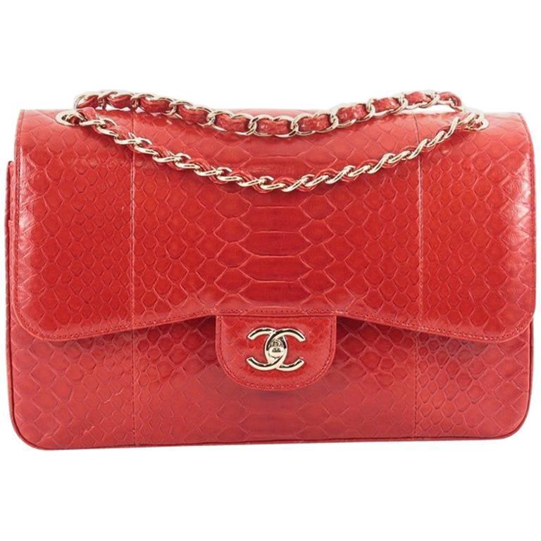 0b589030dc0a Chanel Classic Double Flap Bag Python Jumbo at 1stdibs