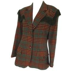 Roccobarocco wool fringed jacket