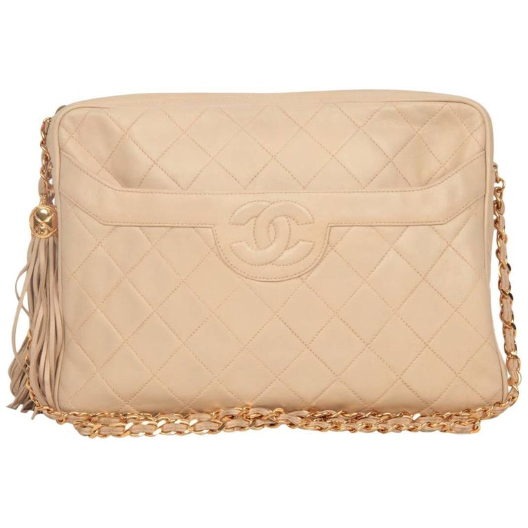 Chanel Vintage Beige Quilted Leather CC Stitch Camera Bag with