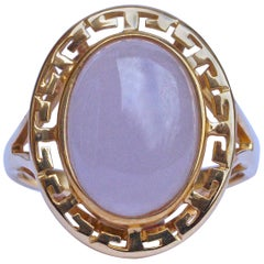 14K Gold Oval Pale Lavender Jade Ring with a Greek Key Design