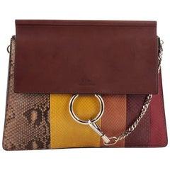 Chloe Faye Shoulder Bag Python with Leather Medium