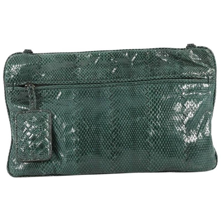 Bottega Veneta Convertible Flat Clutch Snakeskin Small