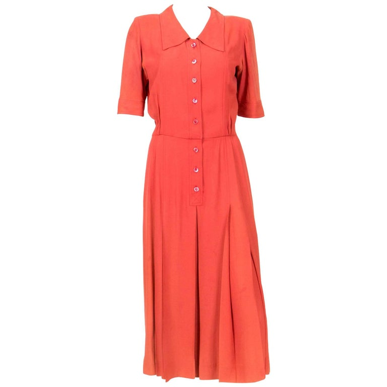 1960s Collector Rare Yves Saint Laurent Orange Dress