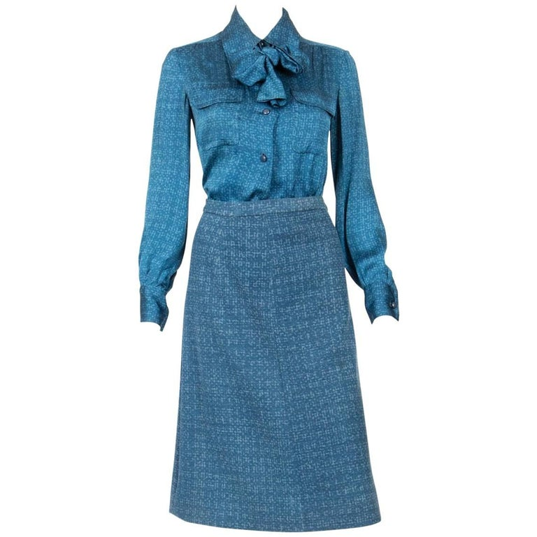 Couture 1973 Christian Dior by Marc Bohan Blue Suit Numbered