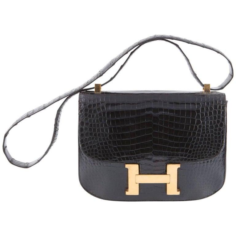 1960s Black Hermes Constance H Shoulder Bag For Sale