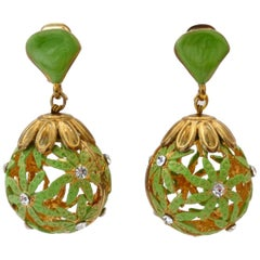 1960s Floral Egg Drop Clip On Earrings