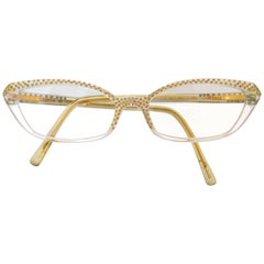 1950s Style Salvatore Ferragamo Gold Rhinestone Cat Eye Glasses