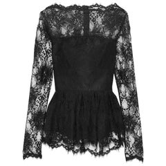 New $1990 Oscar de la Renta Black Lace Peplum Top 12