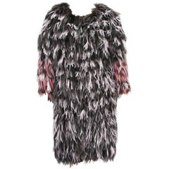 Exotic Oscar de la Renta Ostrich Feathers and Fox Fur Evening Coat Jacket