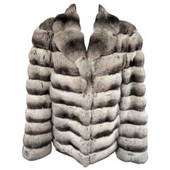 Caressa for I. Magnin Vintage Gray and Black Chinchilla Fur Jacket Coat