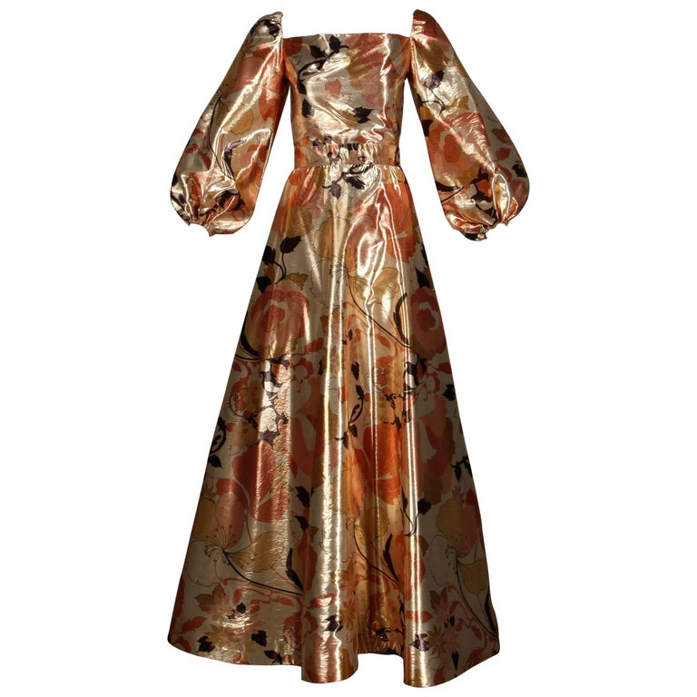 1970s Arnold Scaasi Vintage Metallic Gold Lamé Silk Dress/ Gown (Skirt + Top) For Sale