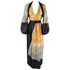 DRIES VAN NOTEN Dress -  Size 6 Gold & Black Wool / Silk Dragon Print Maxi