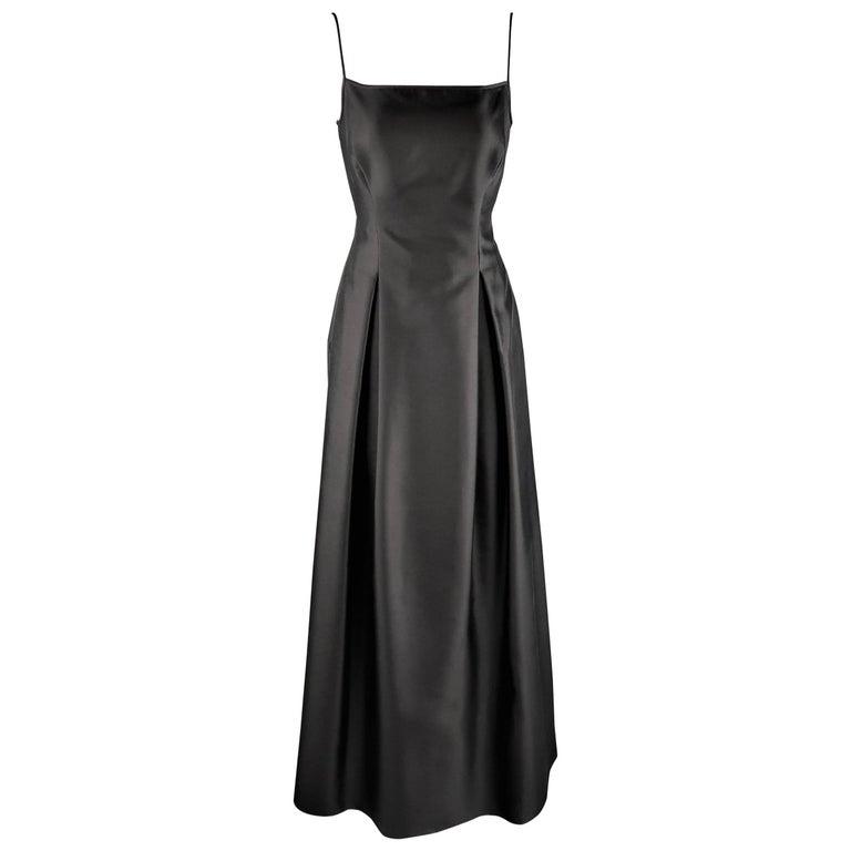 PAMELA DENNIS Size 6 Black Wool / Silk Spaghetti Strap Pleated Evening Gown
