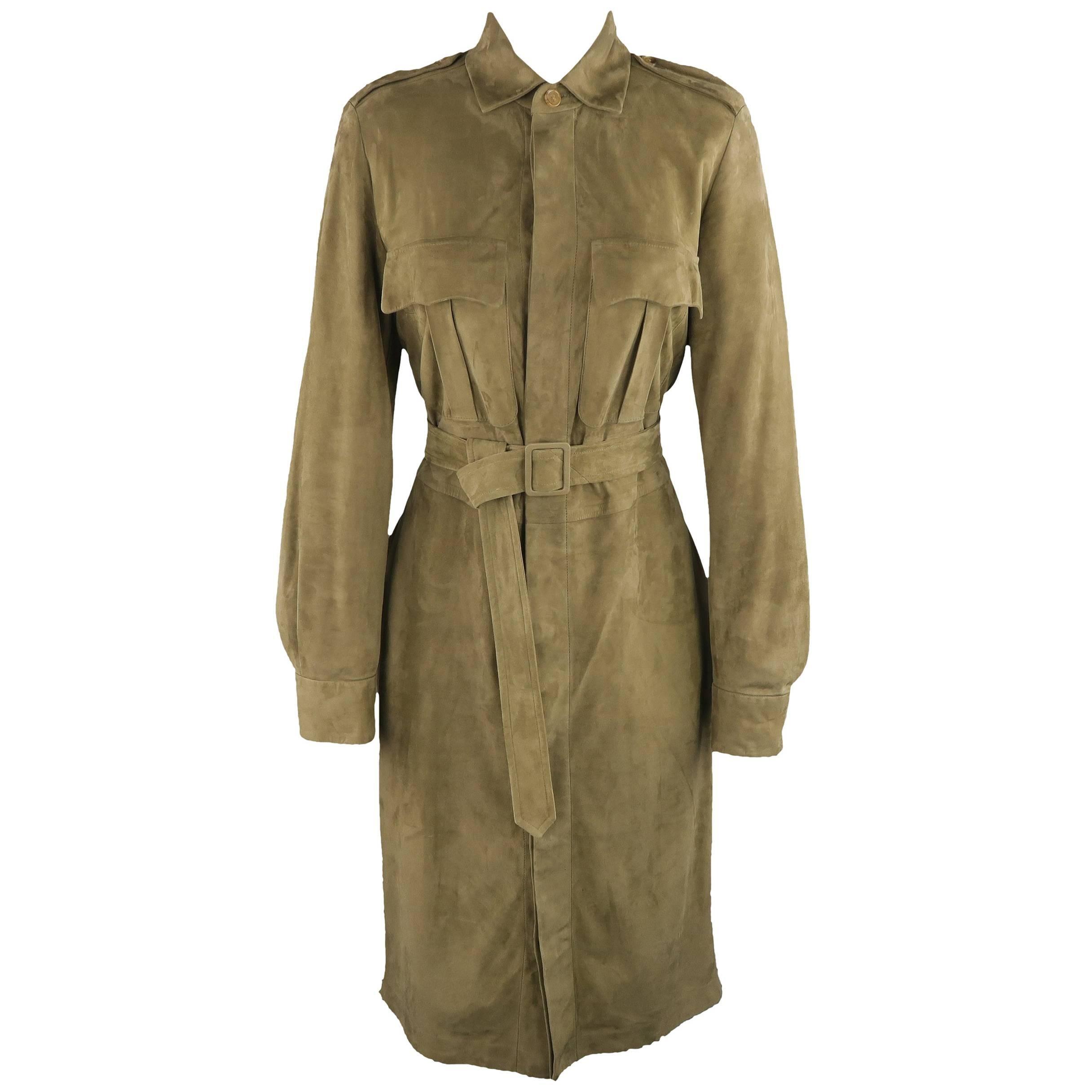 Ralph Lauren Olive Green Suede Safari Dress For Sale