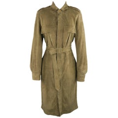 Ralph Lauren Collection Olive Green Suede Safari Dress  - Size 8
