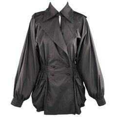 CHANEL Jacket Size 6 Black Double Breasted Balloon Sleeve Windbreaker