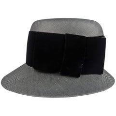 Vintage CHANEL Black Straw Velvet Bow Retro Cloche Hat