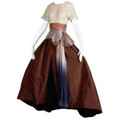 Peter Keppler Vintage Hand Dyed Ombre Silk, Taffeta + Sequin Evening Gown/ Dress