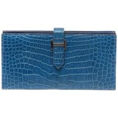 Hermès Mykonos Blue Alligator Béarn Ladies Wallet