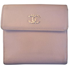 Chanel Pale Pink Caviar Leather Bifold Wallet in Chanel Box