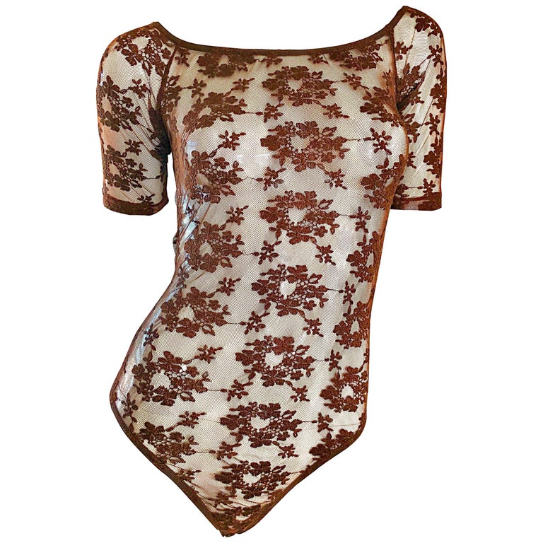 Rare Rifat Ozbek 1990s Choclate Brown French Lace 90s Vintage Bodysuit Top  For Sale