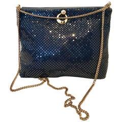 Whiting & Davis Navy & Gold Metal Mesh Hand Bag