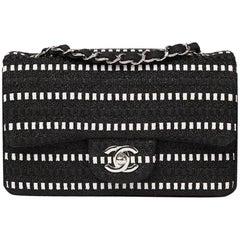 2014 Chanel Black & White Woven Fabric Rectangular Mini Flap Bag