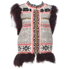 Jean Paul Gaultier Maille Femme Studded Boho Ethnic Vest with Curly Lamb Trim