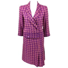 2001 Chanel Pink and Purple Wool Bouclé Skirt Suit