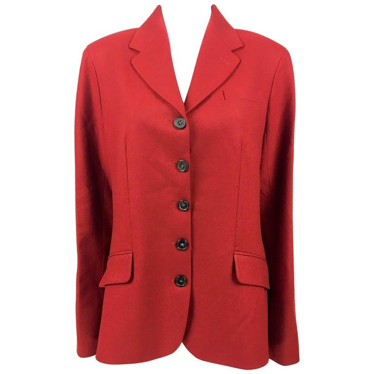 Hermes Deep Red Wool Jacket, 1990s